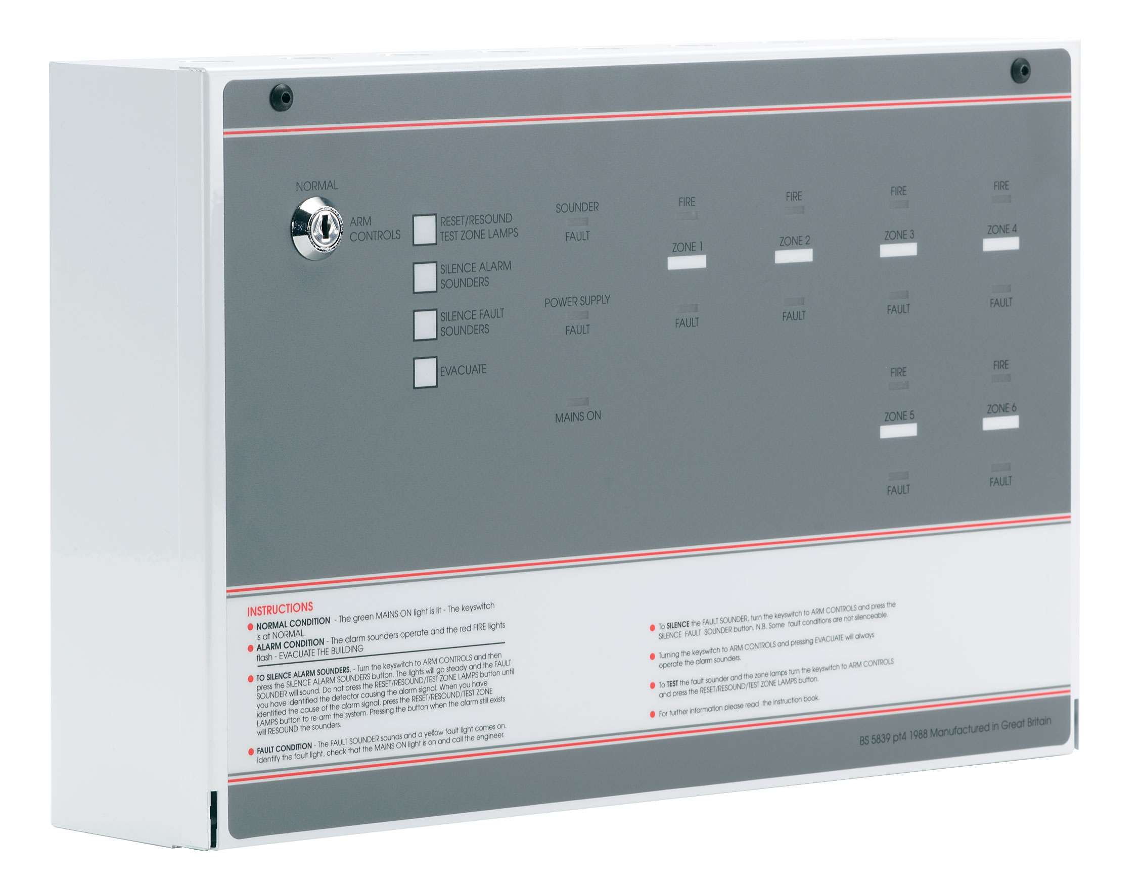 FF384-2 FP 4 Zone Conventional Fire Panel