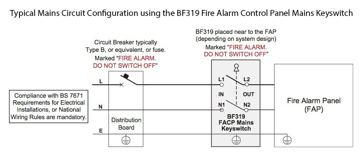 BF319 Fire Alarm Control Panel Mains Keyswitch