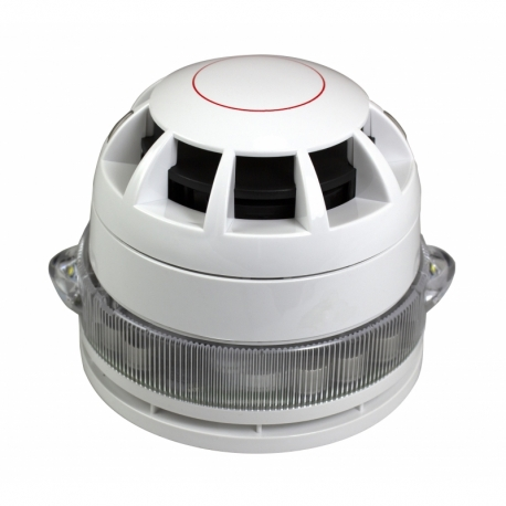 CAST C-3-8.5 Addressable Base VAD c/w Voice Sounder pictured with a CAST detector and base.