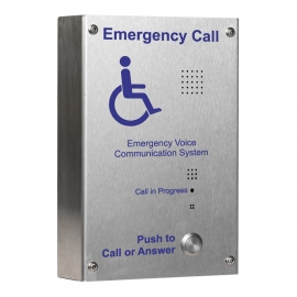 Brushed Stainless Steel Disabled Refuge Outstation, surface